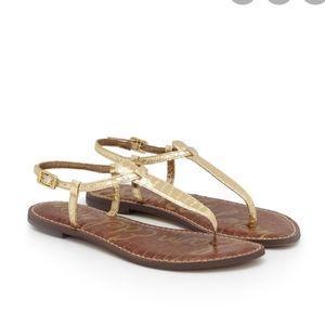 Sam Edelman GiGi Gold Thong Sandals Size 6 1/2M